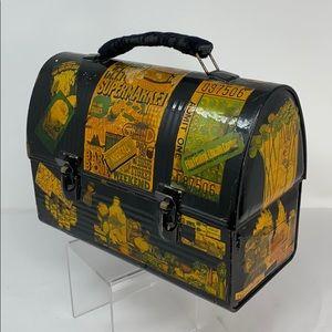 Vintage Decoupage metal lunch box purse bag